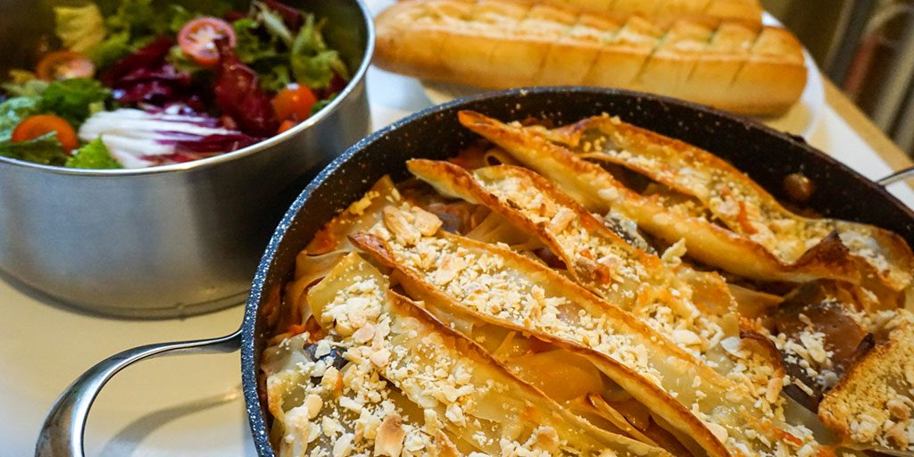Messy aubergine lasagne